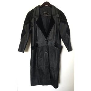 Vintage Leather Coat with Suede Detailing
